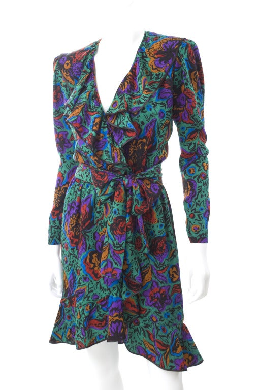 70's Vintage Yves Saint Laurent Jacquard Silk Wrap Dress in Vibrant Colors 5