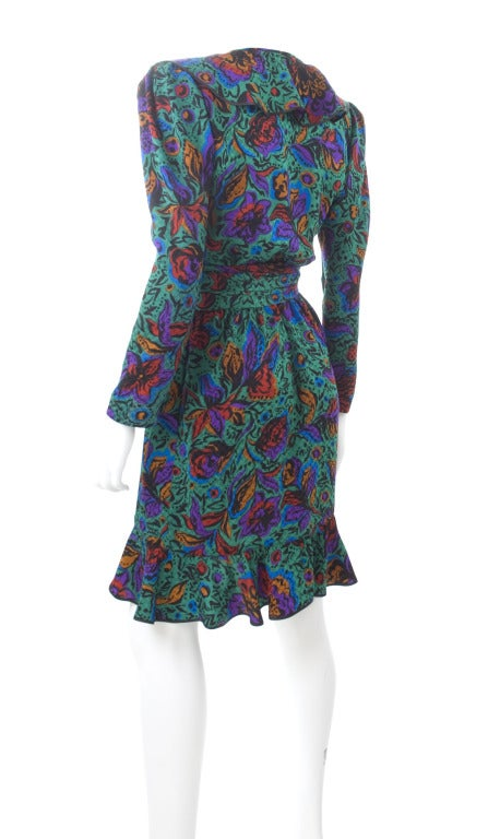 70's Vintage Yves Saint Laurent Jacquard Silk Wrap Dress in Vibrant Colors 7