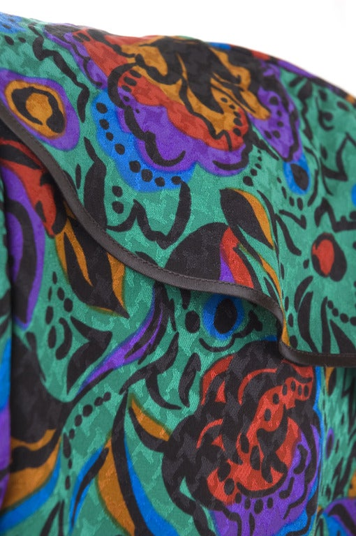 70's Vintage Yves Saint Laurent Jacquard Silk Wrap Dress in Vibrant Colors For Sale 3