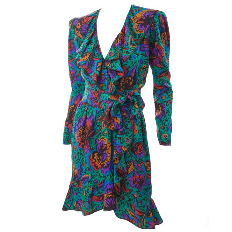 70's Vintage Yves Saint Laurent Jacquard Silk Wrap Dress in Vibrant Colors 1