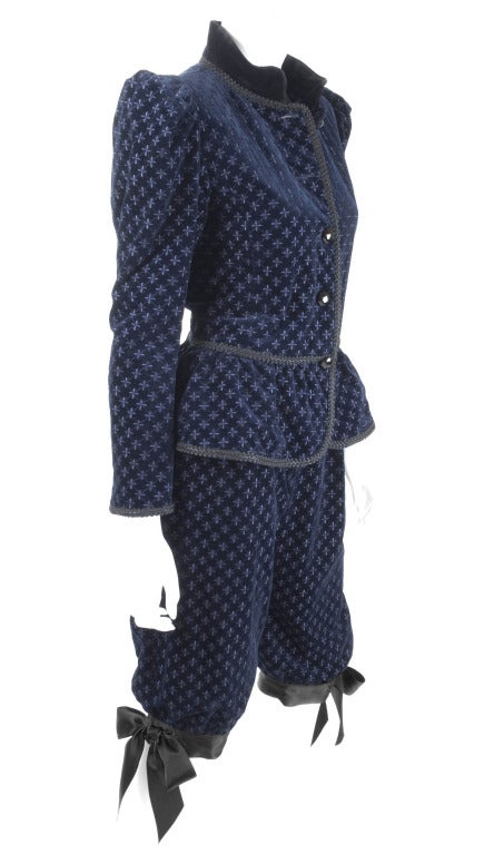 Black Yves Saint Laurent Navy Velvet Knee Breeches Suit For Sale