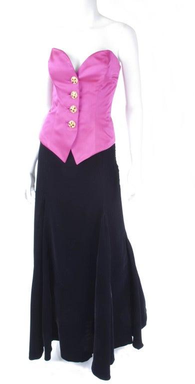 Yves Saint Laurent Satin Bustier And Long Velvet Evening Skirt 2