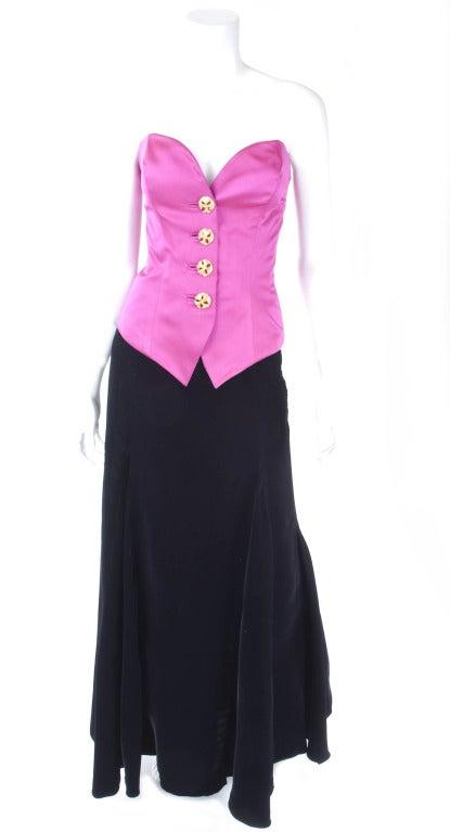 Yves Saint Laurent Satin Bustier And Long Velvet Evening Skirt 4