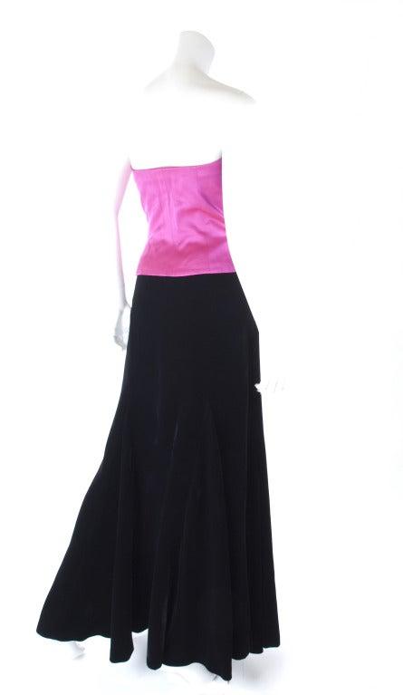 Yves Saint Laurent Satin Bustier And Long Velvet Evening Skirt 6