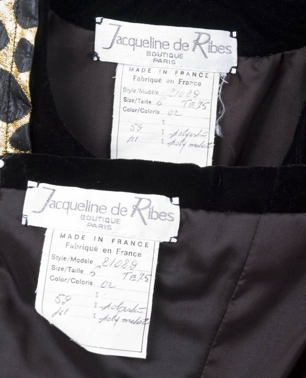 Vintage Jacqueline de Ribes Strapless Cocktail Dress with Jacket in Black & Gold 8