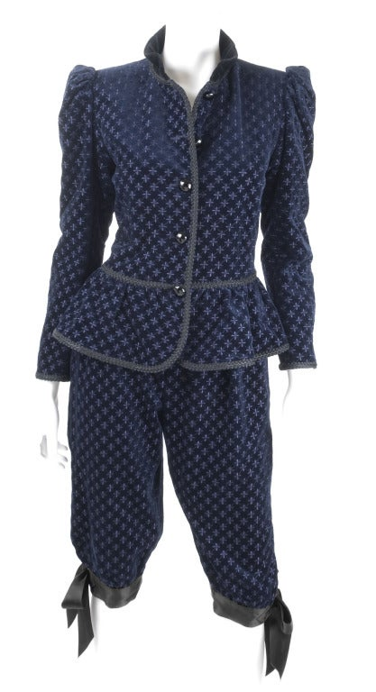 Yves Saint Laurent Navy Velvet Knee Breeches Suit.