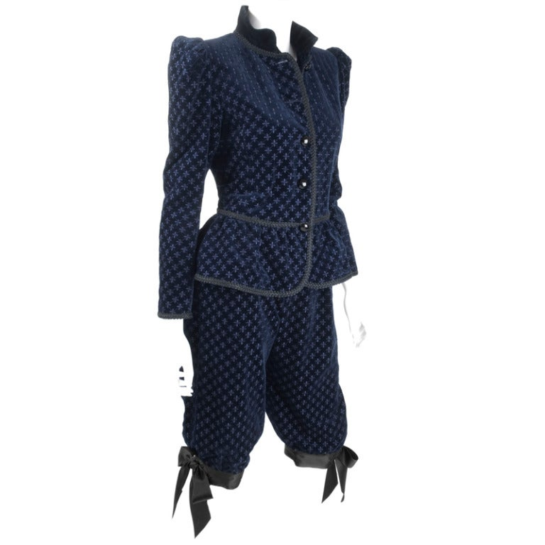Yves Saint Laurent Navy Velvet Knee Breeches Suit For Sale