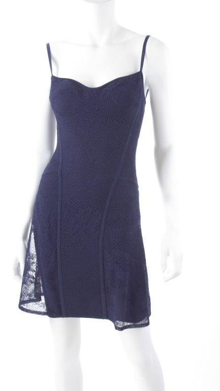 90's Original Herve Leger Navy Lace Dress 2