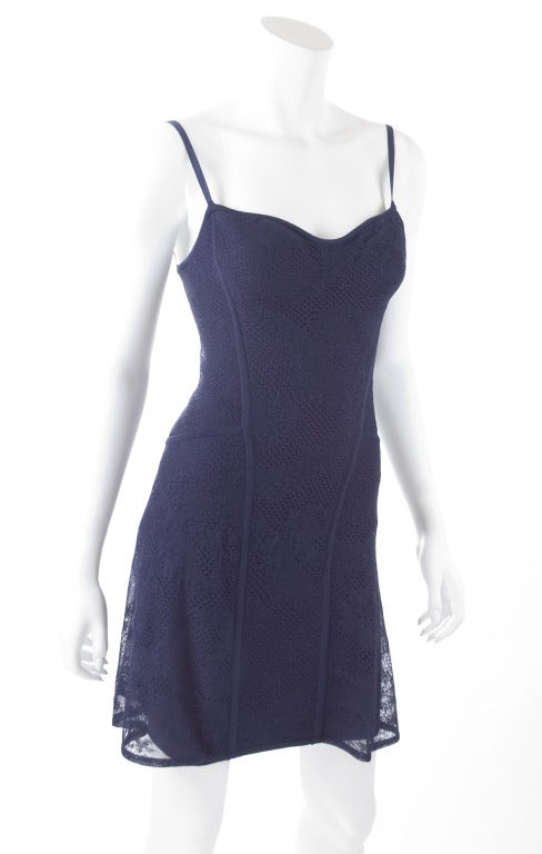 90's Original Herve Leger Navy Lace Dress 3