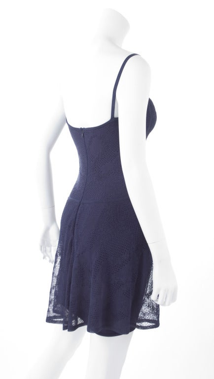 90's Original Herve Leger Navy Lace Dress 6