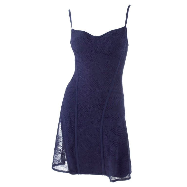 90's Original Herve Leger Navy Lace Dress 1