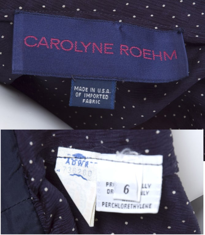 Carolyne Roehm White Dots On Navy Silk Blouse 9
