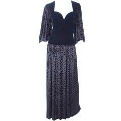 80's Yves Saint Laurent Velvet Bodice and Animal Print Panne Velvet Gown