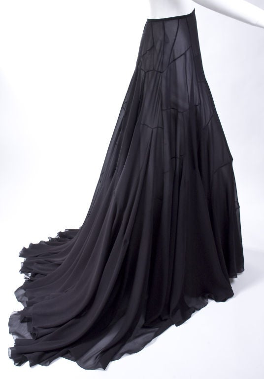 Vionnet Black Silk Evening Skirt 4