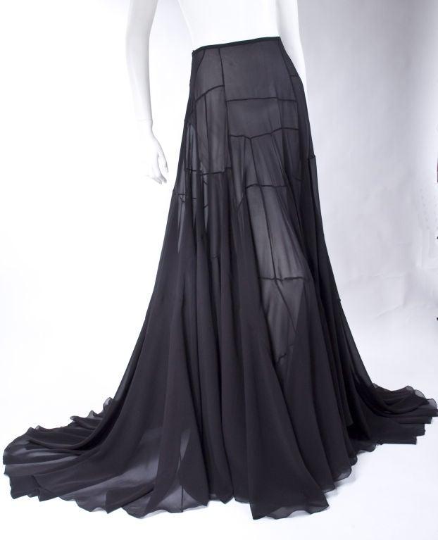 Vionnet Black Silk Evening Skirt 9
