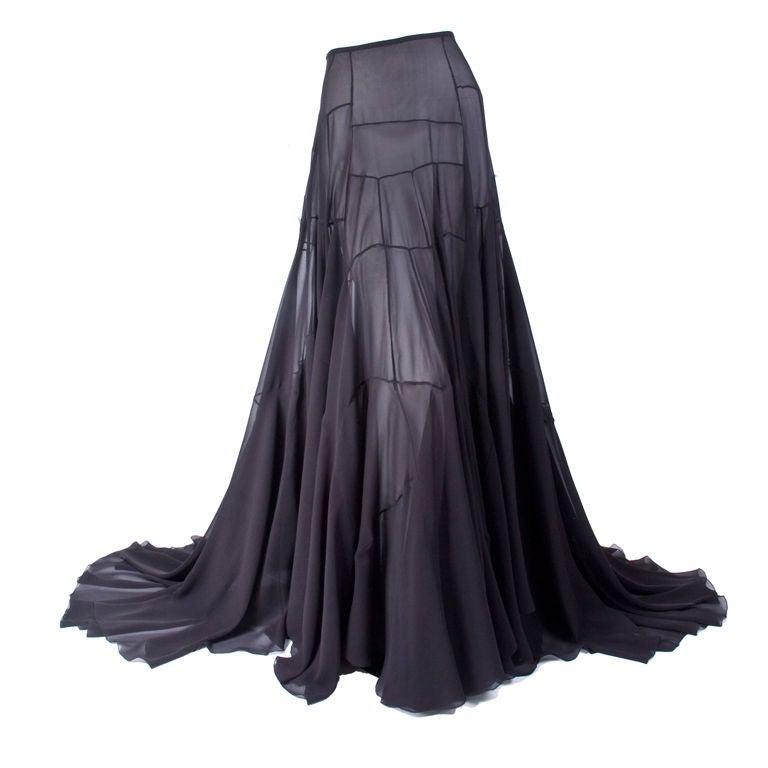 Vionnet Black Silk Evening Skirt 1