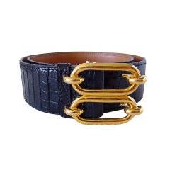 HERMES Vintage belt Crocodile Gold buckle