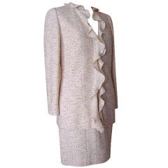 CHANEL 99A Charming vintage Skirt suit ruffle detail 42 8
