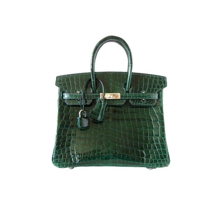 HERMES 25 BIRKIN bag EMERALD Crocodile exquisite beauty 1