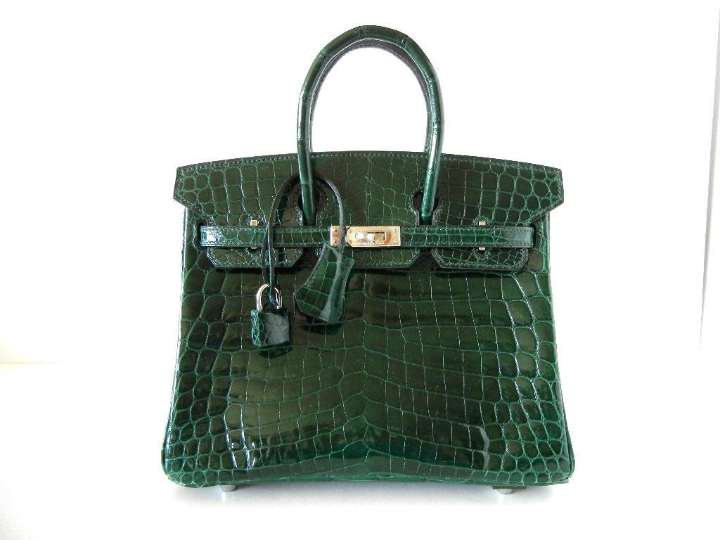 HERMES 25 BIRKIN bag EMERALD Crocodile exquisite beauty 2
