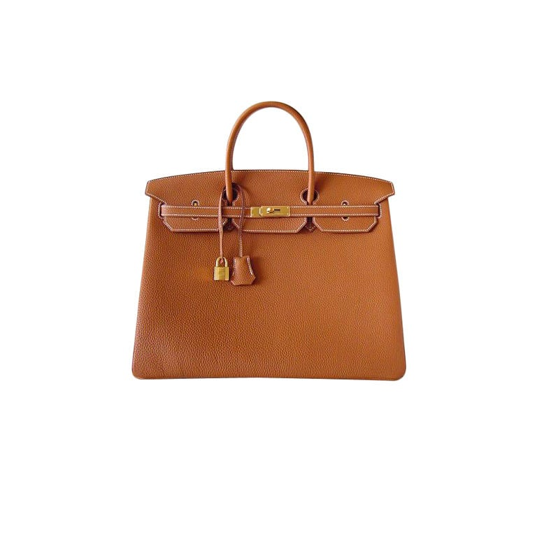 HERMES Birkin 40 Bag Classic Gold w/coveted GOLD Hrdwre For Sale