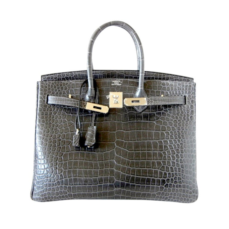 HERMES BIRKIN 35 bag MATTE Gray Crocodile SO Chic