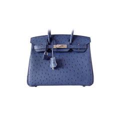 HERMES BIRKIN 30 Ostrich Bag EXQUISITE Bleu Roi