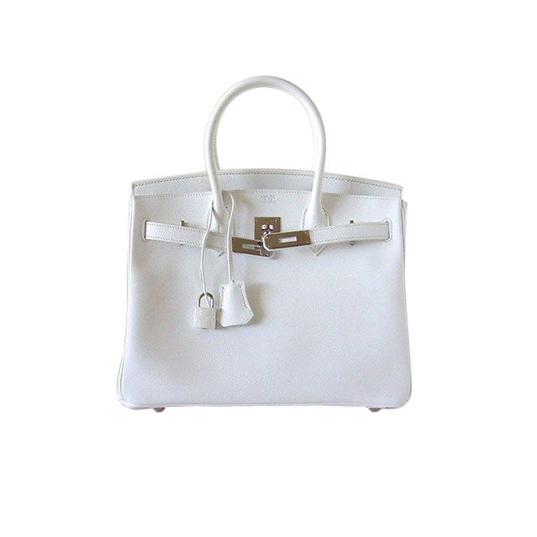 HERMES BIRKIN 30 Bag Sparkling Snow WHITE/Pall SO fresh