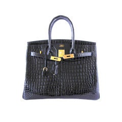 HERMES BIRKIN 35 Bag Jet Black CROCODILE Gold hardware