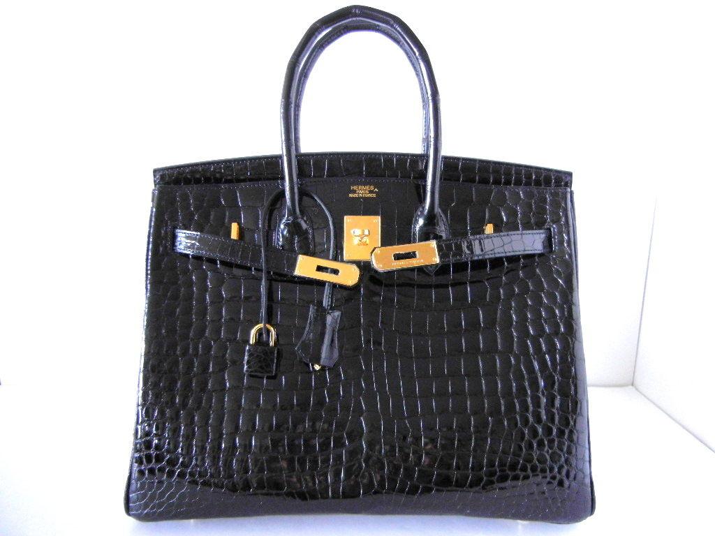 HERMES BIRKIN 35 Bag Jet Black CROCODILE Gold hardware 2