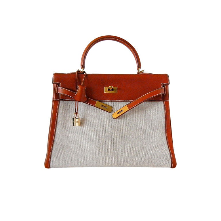 HERMES KELLY 35 Supple Bag Coveted BARENIA TOILE gold 1