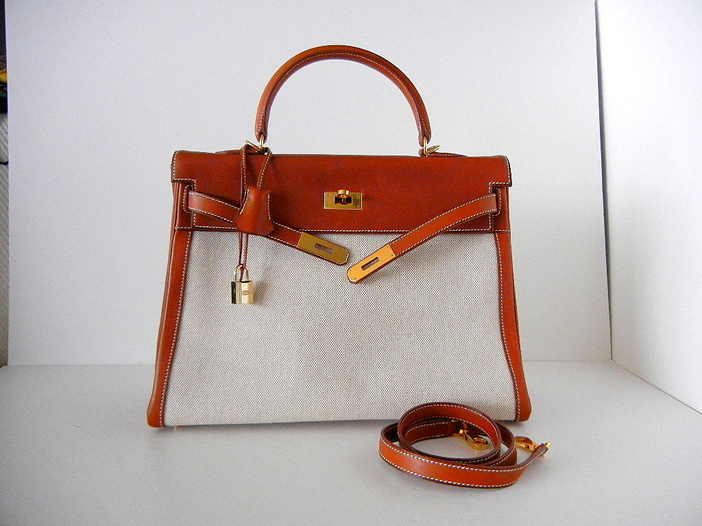 HERMES KELLY 35 Supple Bag Coveted BARENIA TOILE gold 2