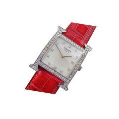 HERMES watch H hour Heure H dame acier VVS diamond croco strap
