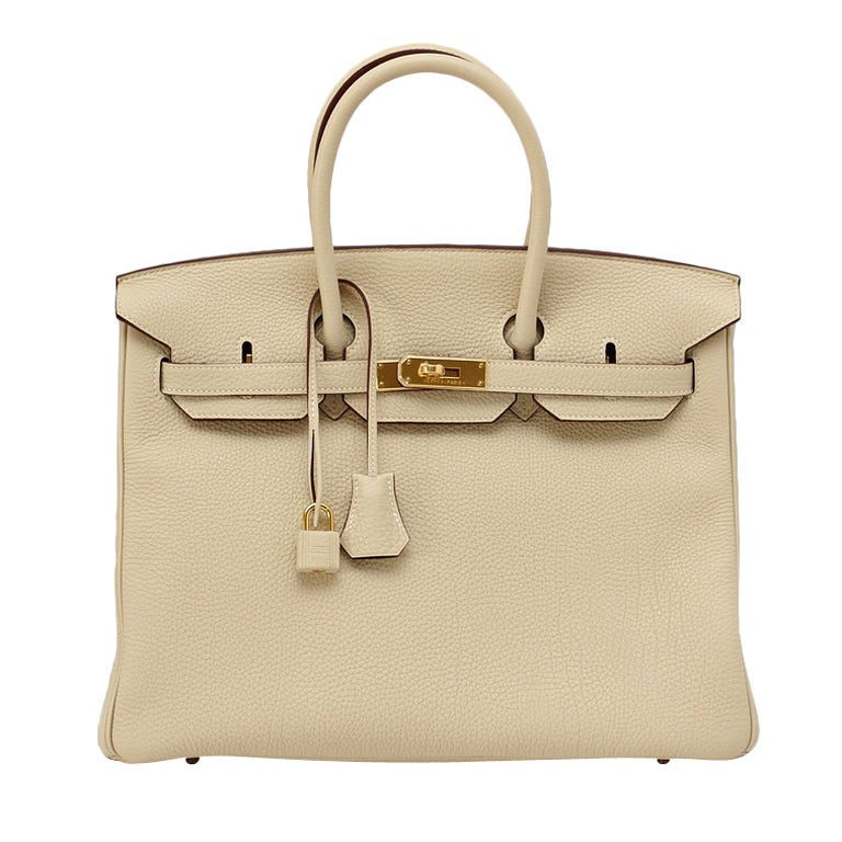 HERMES BIRKIN 35 bag PARCHEMIN w/ Gold hardware Stunning Neutral For Sale