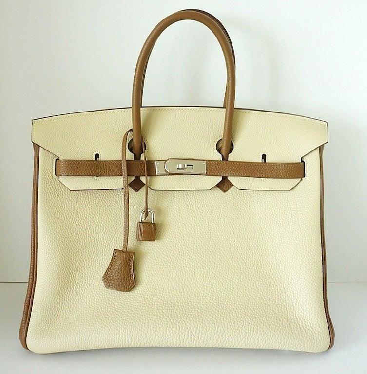 HERMES BIRKIN 35 bag PARCHEMIN / ALEZAN bi-colour Special Order 2