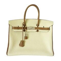 HERMES BIRKIN 35 bag PARCHEMIN / ALEZAN bi-colour Special Order