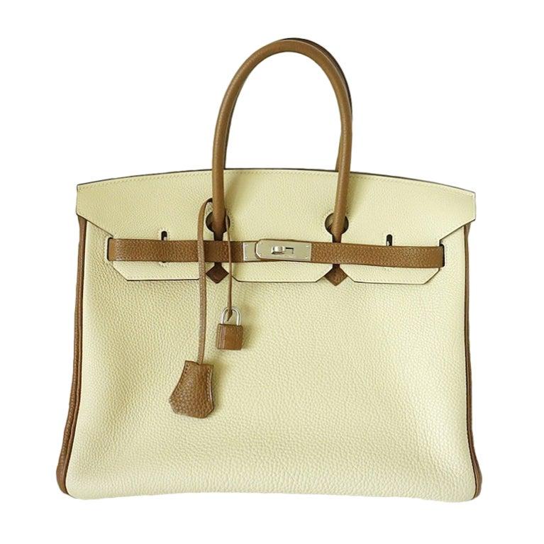 HERMES BIRKIN 35 bag PARCHEMIN / ALEZAN bi-colour Special Order 1