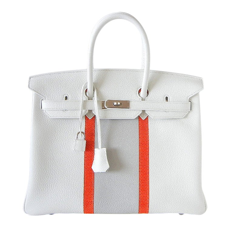 HERMES BIRKIN 35 bag white Club Limited Edition Sanguine Lizard For Sale