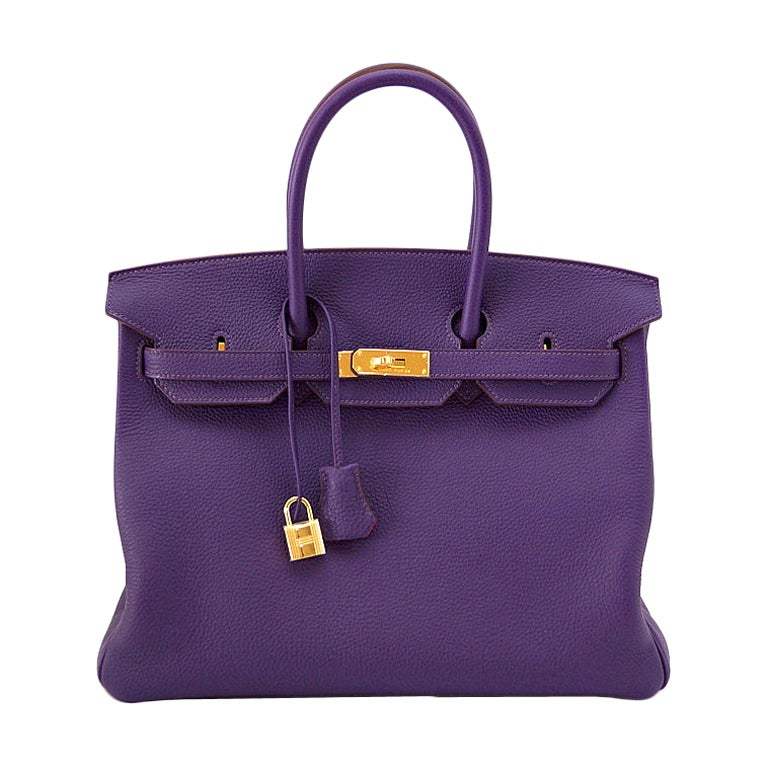 HERMES BIRKIN 35 bag IRIS Gold Hardware Royal colour 1