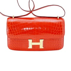 Hermes Constance Elan Bag Geranium Crocodile Gold Hardware
