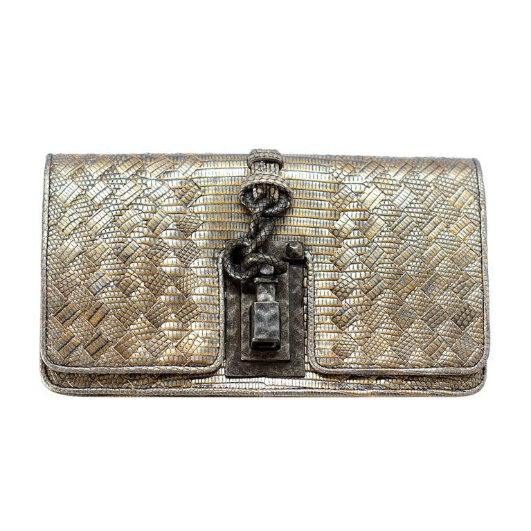 BOTTEGA VENETA bag woven Exotic Lizard clutch divine metal hdwr