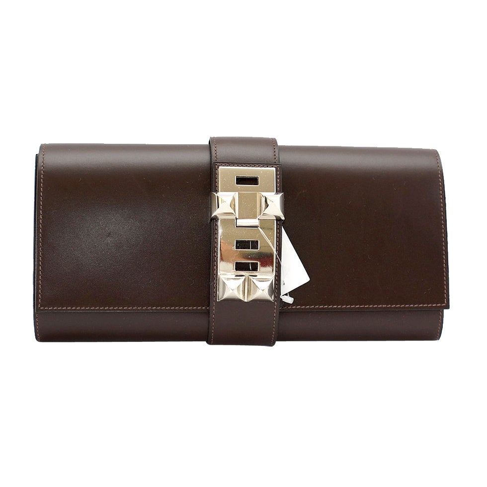 HERMES Medor clutch Chocolate Brown box leather palladium 1