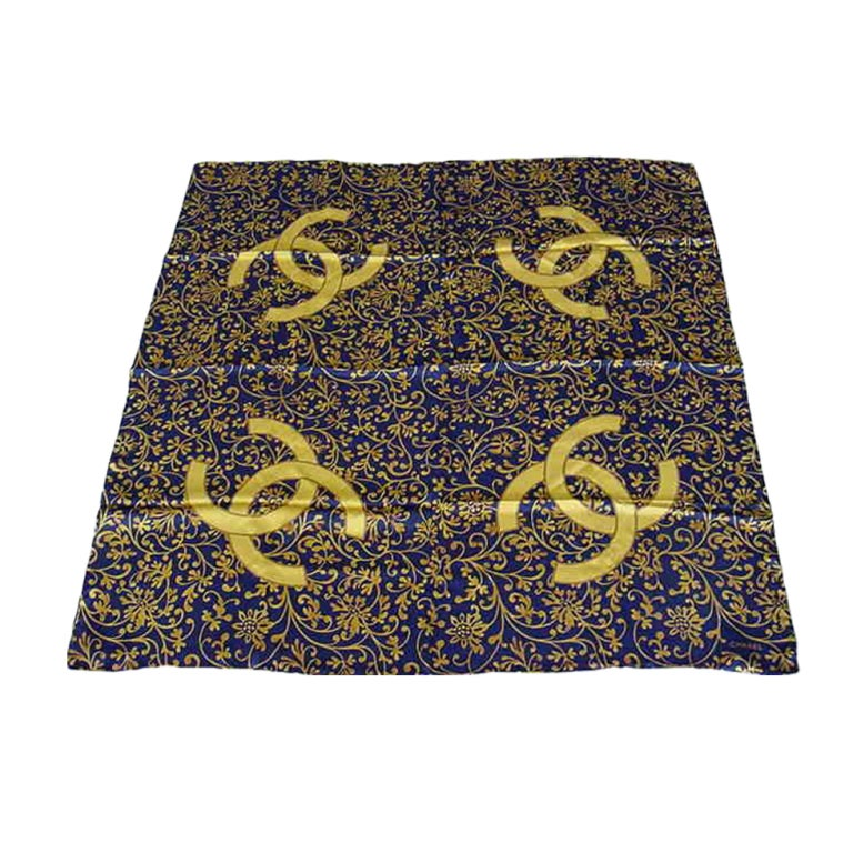 chanel unique silk scarf navy gold large cc at
