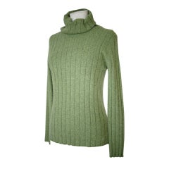 CHANEL 97A Sweater Top Turtleneck Cashmere Divine Heathered Green 42 / 8