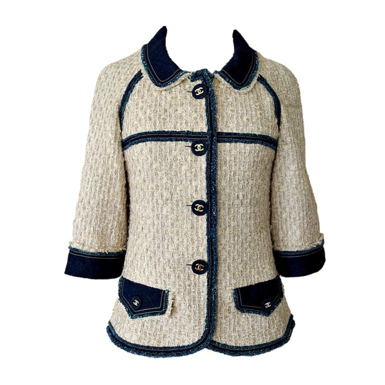 CHANEL 07P jacket 3/4 sleeve Tweed blue jean trim Grt buttons 36 1