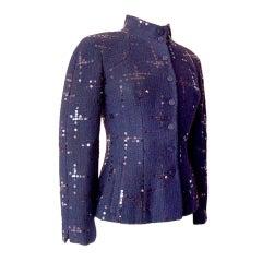 CHANEL 02A jacket Sophisticated  black/navy paillettes 38 MINT