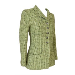 CHANEL 97A Grüne Tweed Jacke 34 / 4