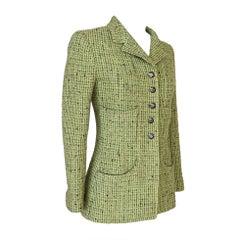 CHANEL 97A Grüne Tweed Jacke 34 / 4