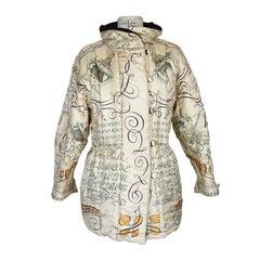 Hermes Vintage Jacket L'Art D'Ecrire Reversible Scarf Print 36 / 6