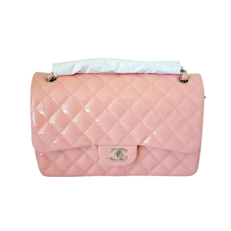 CHANEL bag JUMBO flap Pink patent leather Cruise 2013 NEW/box at ...